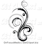 Vector Clip Art of a Vertical Black Flourish by OnFocusMedia