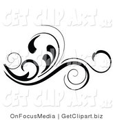 Vector Clip Art of an Ornate Black Flourish by OnFocusMedia