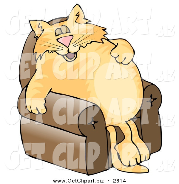 Clip Art of a Anthropomorphic Cat Napping on a Recliner Chair over a White Background