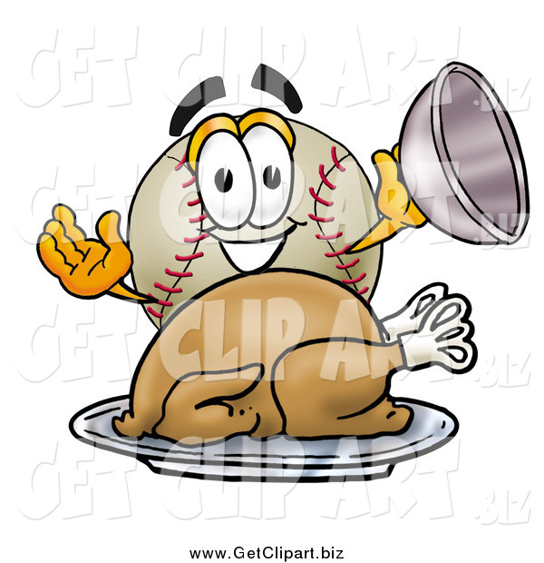 Clip Art of a Baseball Character Serving a Thanksgiving Turkey on a Platter
