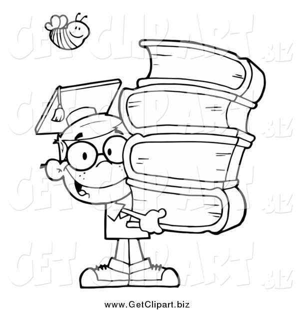 Clip Art of a Black and White Bee over a Graduate School Boy Carrying a Stack of Books