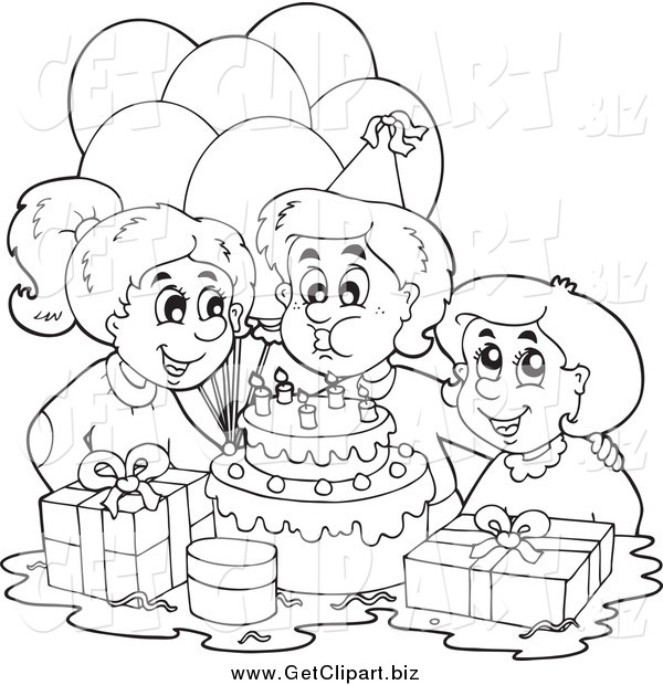 Clip Art of a Black and White Birthday Boy Blowing out His Candles