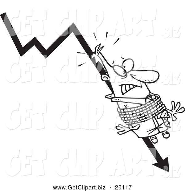 Clip Art of a Black and White Businessman Tied to a Plumeting Arrow