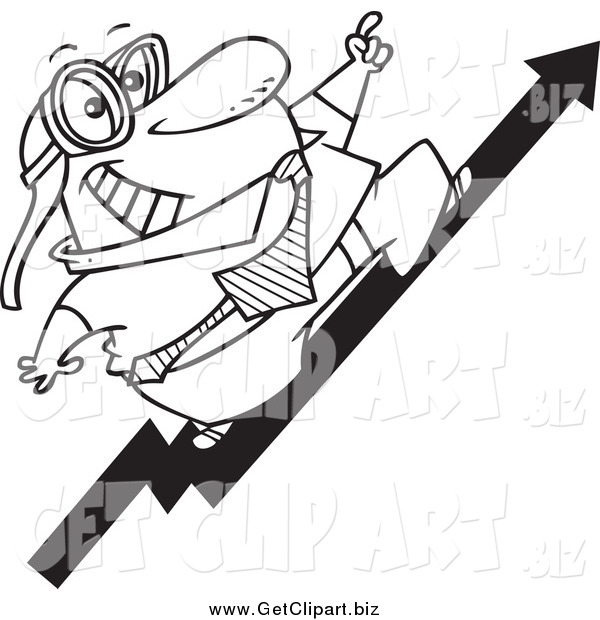 Clip Art of a Black and White Businessman Wearing Goggles and Standing on an Upward Arrow
