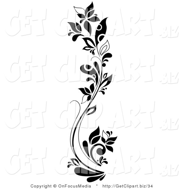 Clip Art of a Black and White Curving Tall Flowering Plant