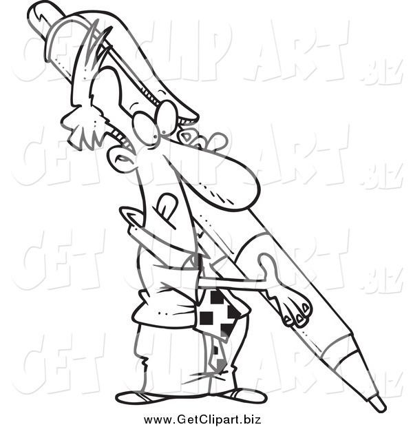 Clip Art of a Black and White Determined Businessman Holding a Huge Pen
