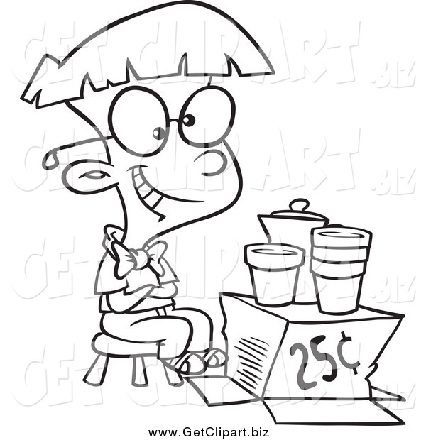 Clip Art of a Black and White Happy Lemonade Tycoon Boy
