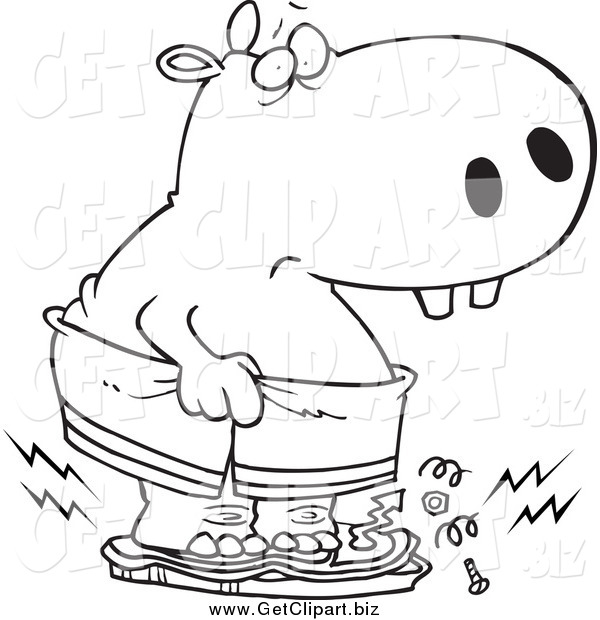 Clip Art of a Black and White Heavy Hippo Crushing a Scale