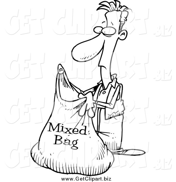 Clip Art of a Black and White Man Holding a Mixed Bag
