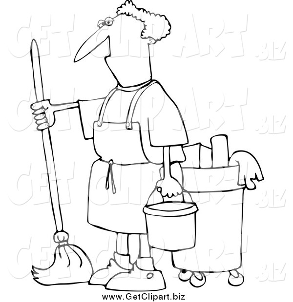 Clip Art of a Black and White Man Mopping
