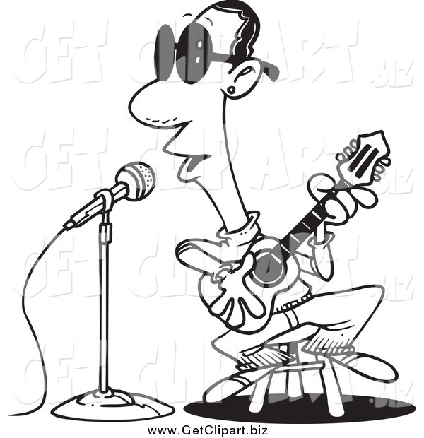 Clip Art of a Black and White Man Singing the Blues