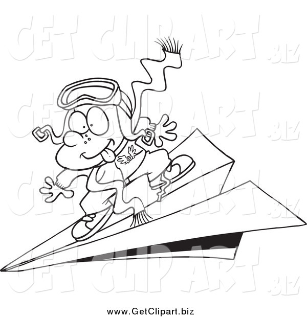 Clip Art of a Black and White Pilot Boy Flying on a Paper Plane