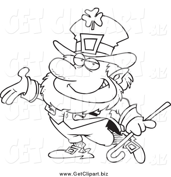 Clip Art of a Black and White Presenting Leprechaun