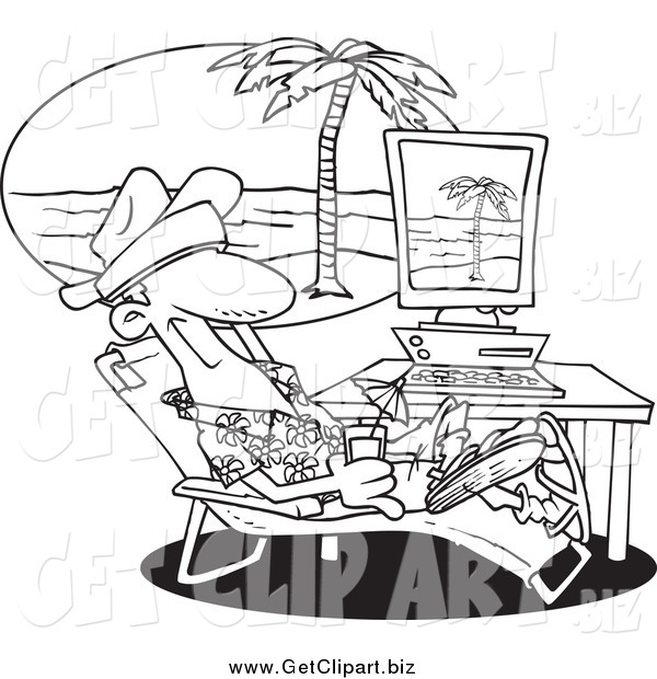 Clip Art of a Black and White Relaxed Man Taking a Virtual Vacation in His Office