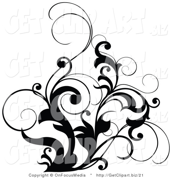 Clip Art of a Black and White Scrolling Design Accent of Curly Leaves