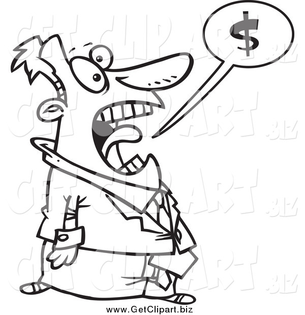 Clip Art of a Black and White Stressed Businessman Shouting About Money