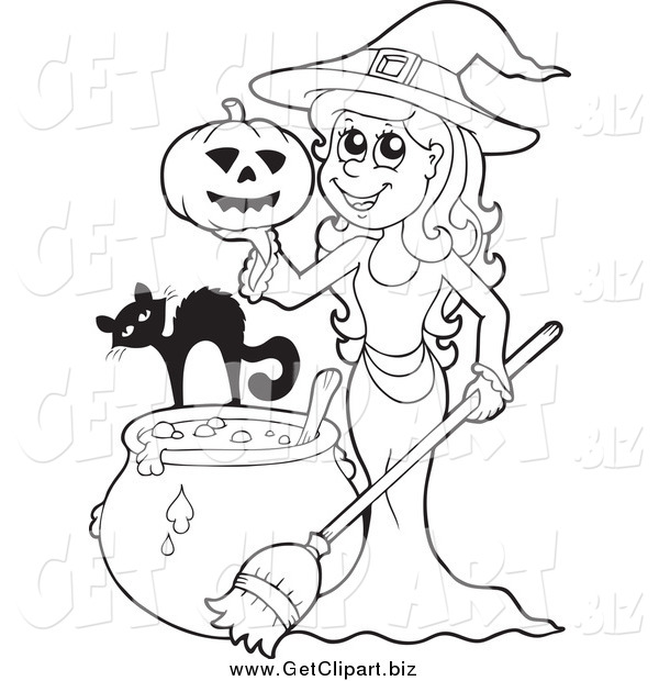 Clip Art of a Black and White Witch with a Cat Pumpkin and Cauldron