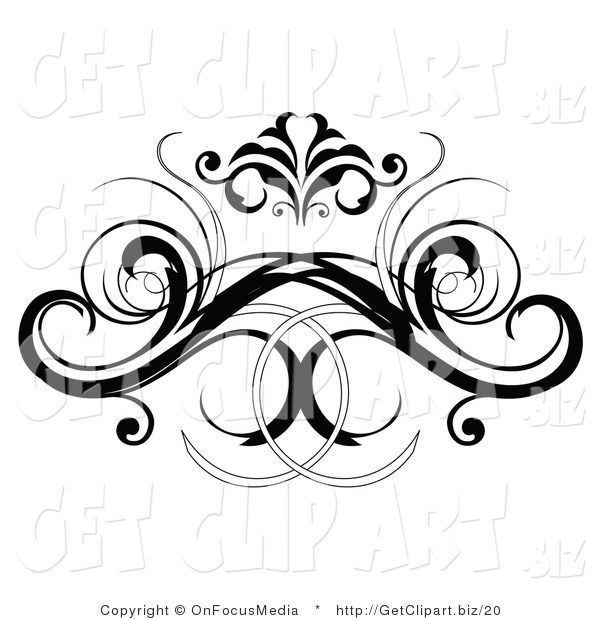 Clip Art of a Black Decorative Swirling Design Element or Back Tattoo