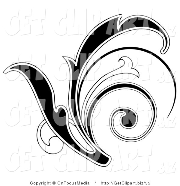 Clip Art of a Black Leafy Scroll Design with a White Outline