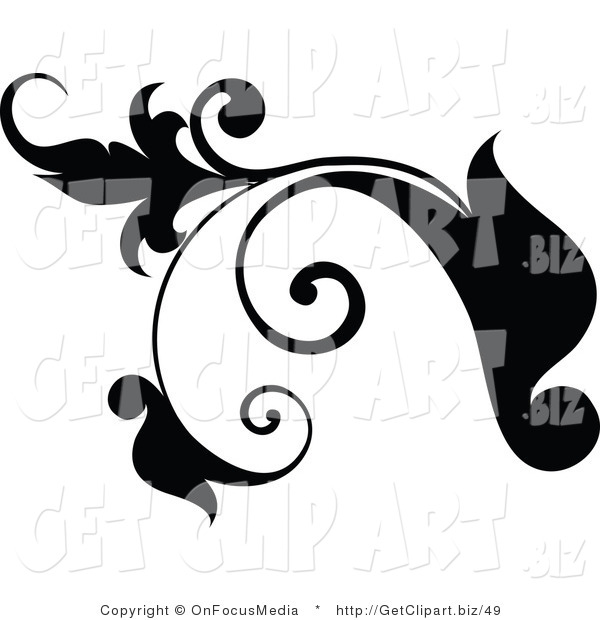 Clip Art of a Black Plant Design Element Scroll with Tendrils Growing Left