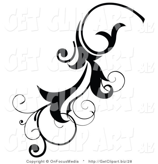 Clip Art of a Black Scrolling Flourish Design Element