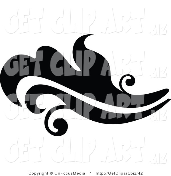 Clip Art of a Black Silhouetted Elegant Leafy Design Going Left