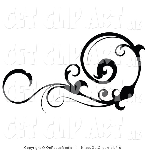 Clip Art of a Black Silhouetted Horizontal Scrolling Design Element