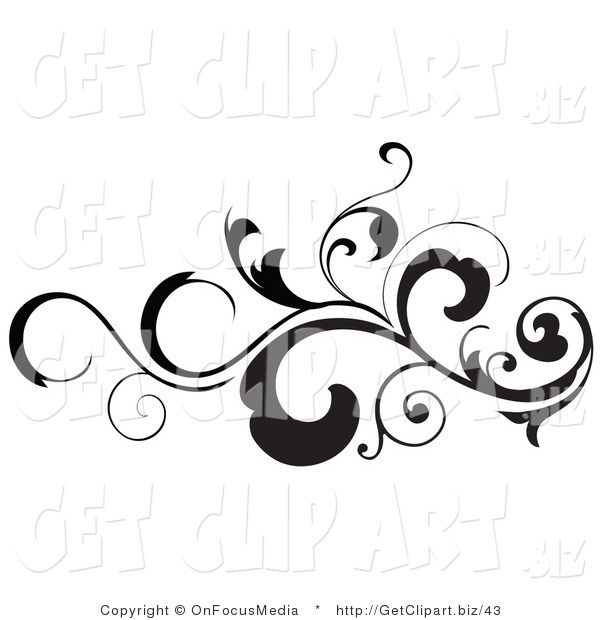 Clip Art of a Black Silhouetted Leafy Scroll Design Element with Tendrils Flowing Horizontal