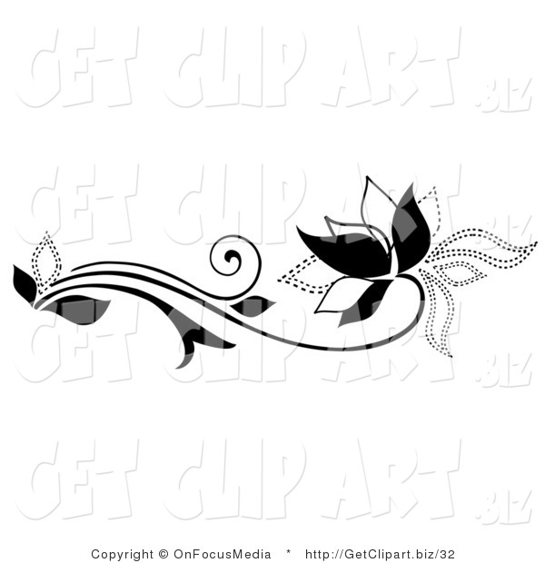 Clip Art of a Black Solid Lined and Dotted Flowering Plant with Swirling Tendrils