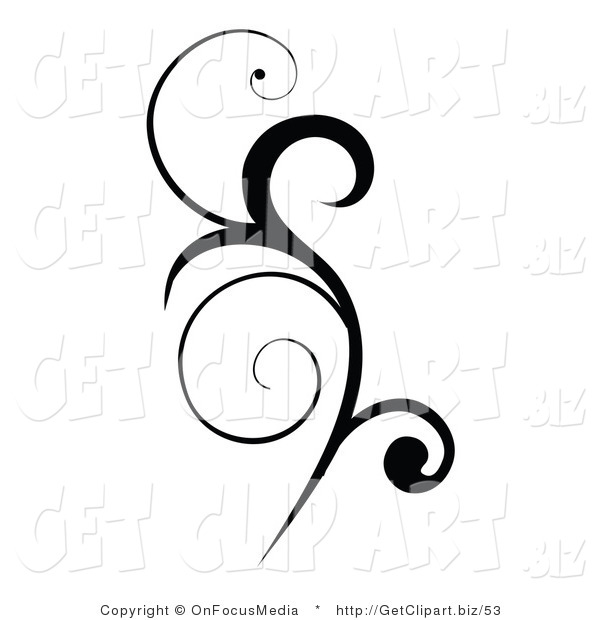 Clip Art of a Black Vertical Scroll Design Element Silhouetted in Black