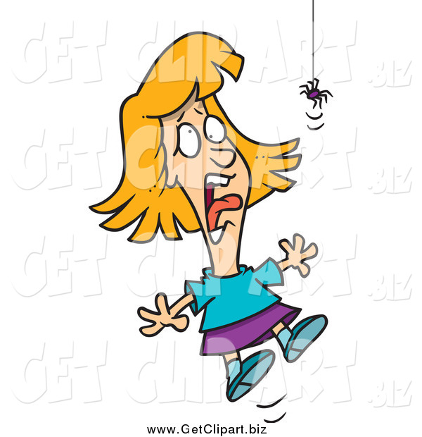 Clip Art of a Blond Girl Screaming at a Spider