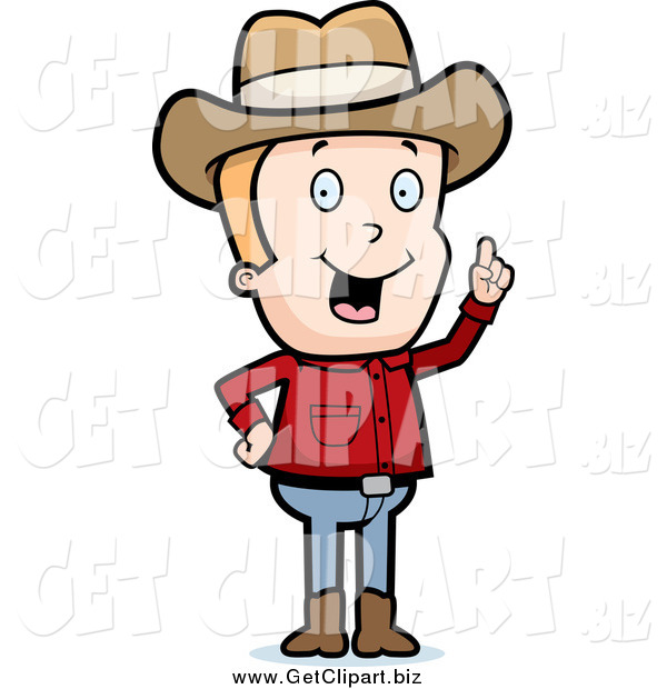 Clip Art of a Blond White Cowboy with an Idea