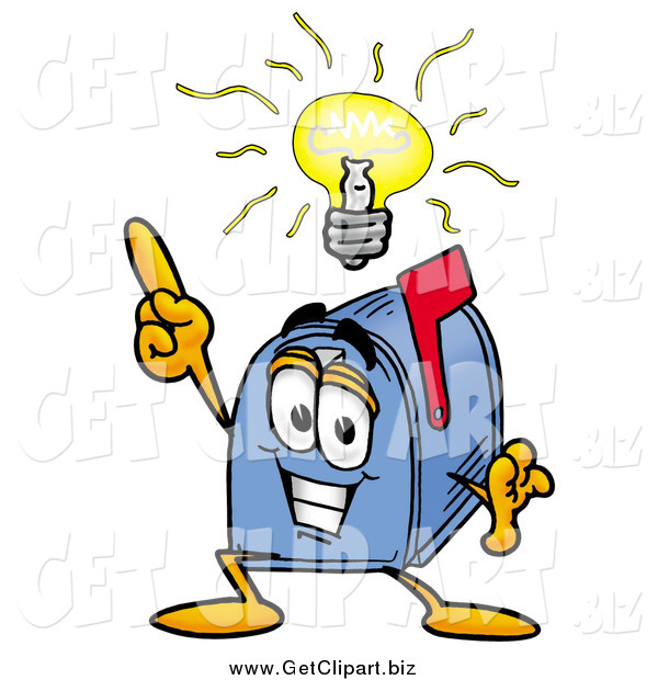 Clip Art of a Blue Mailbox Cartoon Character with a Bright Idea