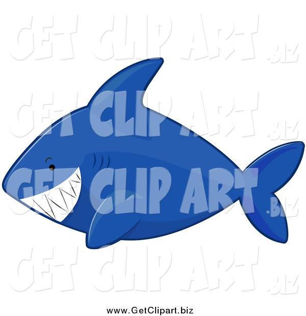Clip Art of a Blue Shark