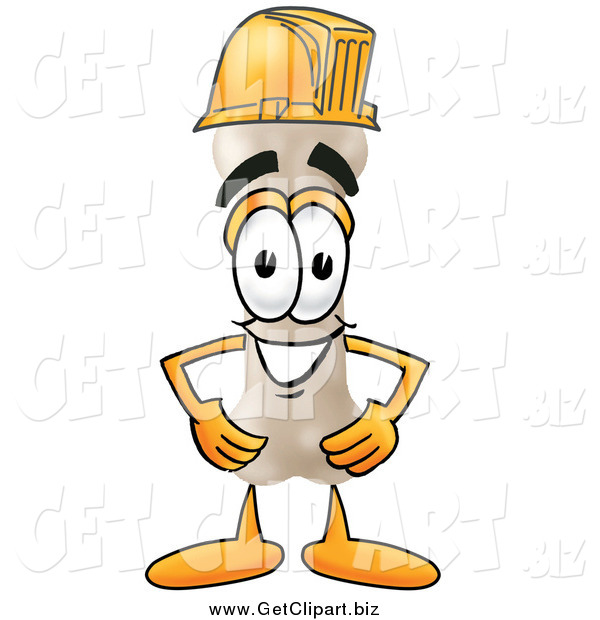 Clip Art of a Bone Character Wearing a Helmet