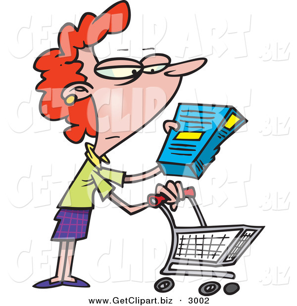 Clip Art of a Bored White Woman in a Grocery Store Readint the Nutrition Label on a Box of Food