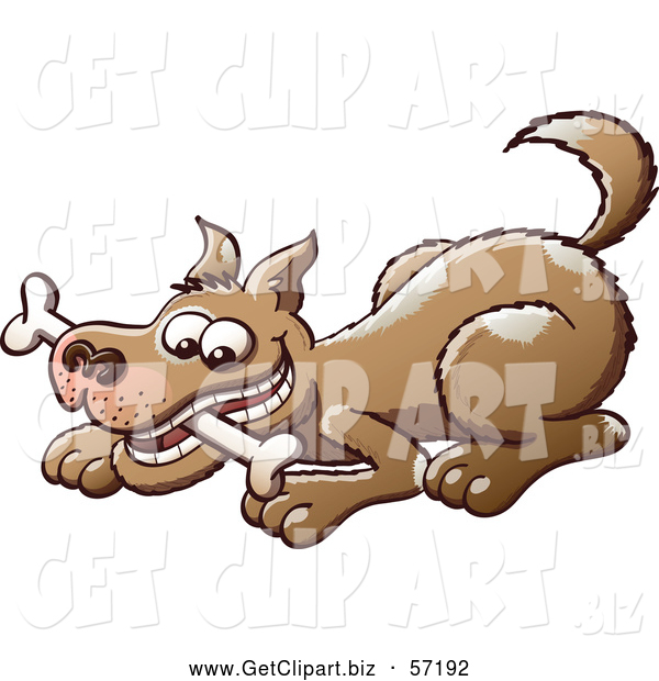 Clip Art of a Brown Dog Chomping on a Bone