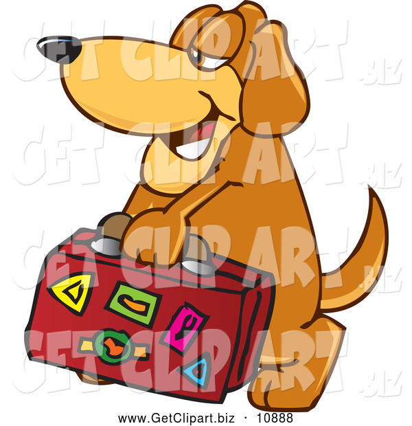 Clip Art of a Brown Dog Mascot Cartoon Character Carrying Luggage While on Vacation
