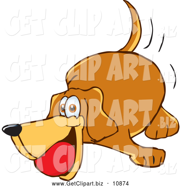 Clip Art of a Brown Dog Mascot Cartoon Character Chewing on a Red Ball