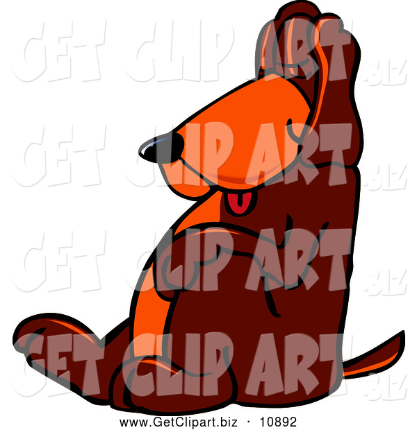 Clip Art of a Brown Dog Mascot Cartoon Character, Tired and Worn Out, Sleeping While Leaning Against a Wall