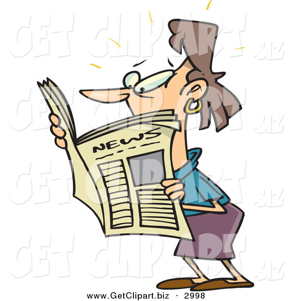 Clip Art of a Brunette White Woman Reading a Newspaper on White