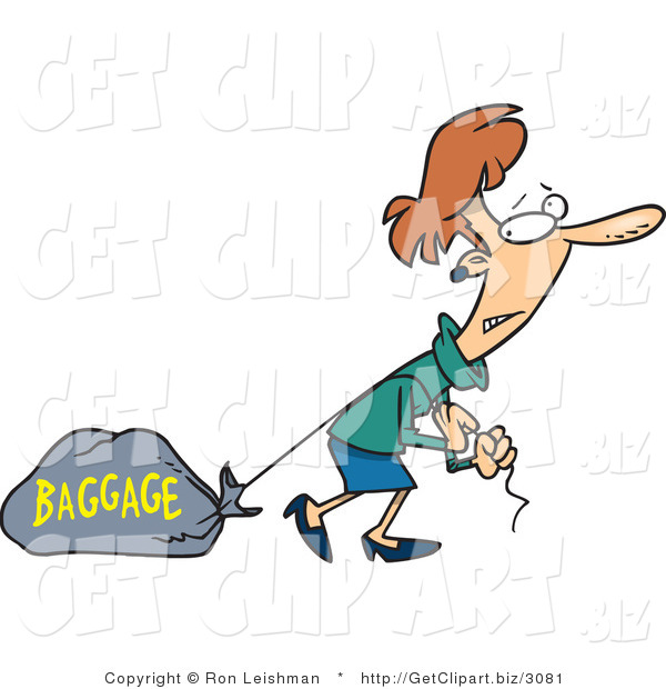 Clip Art of a Brunette Woman Pulling a Heavy Bag