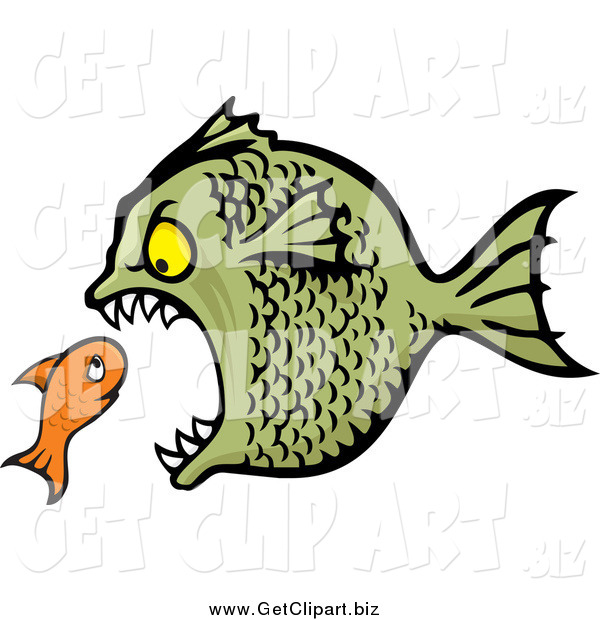 Clip Art of a Bully Fish Eating a Small Orange Fish