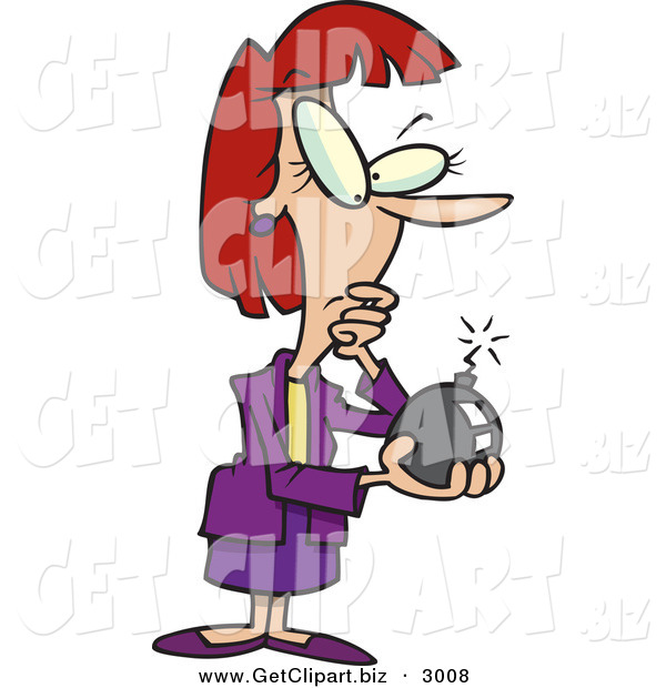 Clip Art of a Business Caucasian Woman Holding a Bomb with a Lit Fuze on White