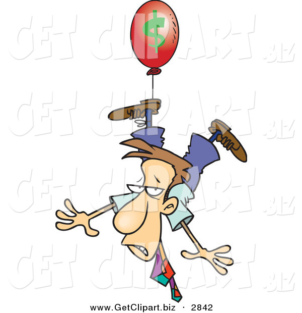Clip Art of a Business Man Being Carried Away by a Red Inflation Balloon on White