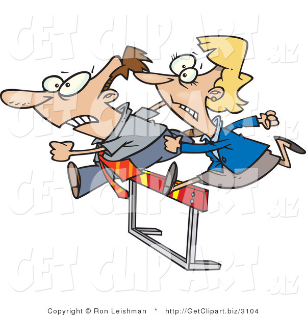 Clip Art of a Businessman and Woman Jumping a Hurdle Obstacle During a Race