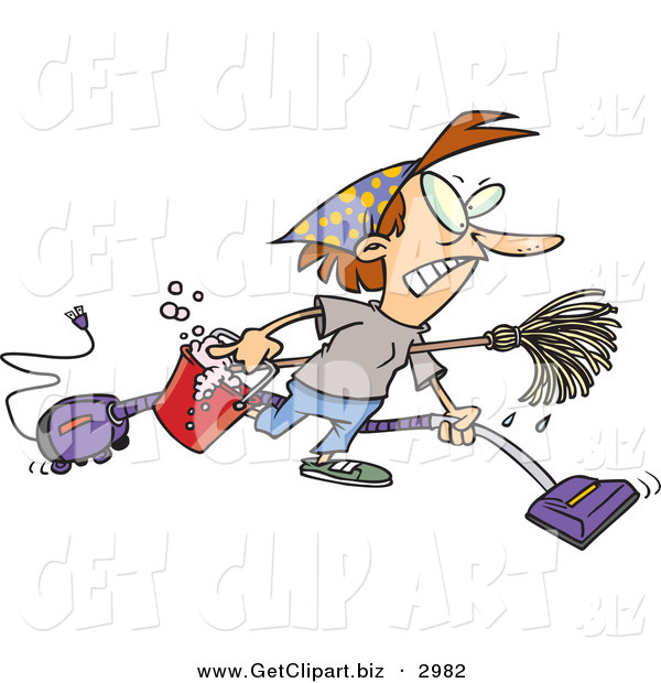 Clip Art of a Busy Housewife Woman Wearing Herself out While Doing Spring Cleaning