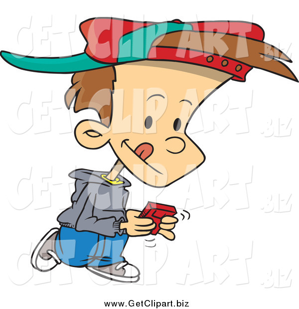 Clip Art of a Cartoon Brunette White Boy Walking and Playing a Video Game