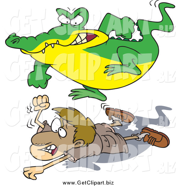 Clip Art of a Cartoon Crocodile Jumping on a Hunter