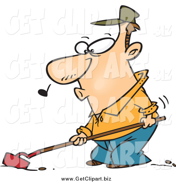 Clip Art of a Cartoon Farmer Whistling and Cultivating